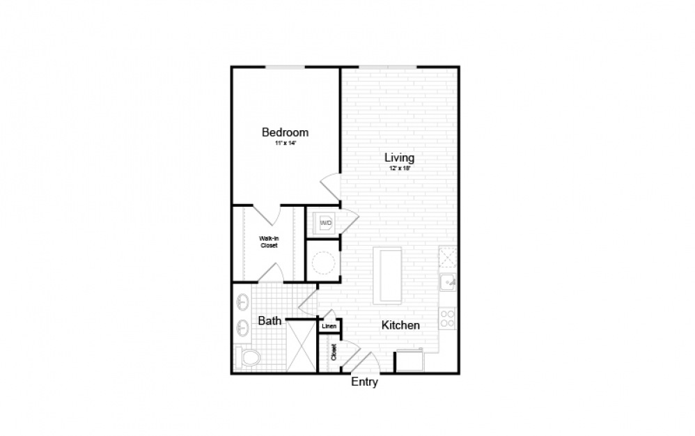 AO-1 - 1 bedroom floorplan layout with 1 bath and 768 square feet.