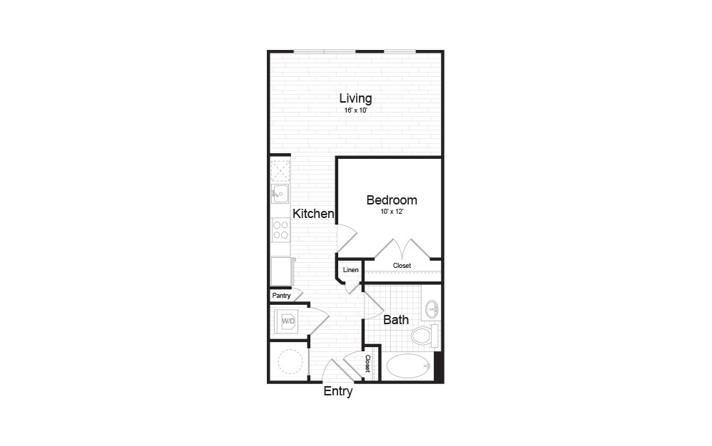 AMO-1.02 - 1 bedroom floorplan layout with 1 bath and 577 square feet.